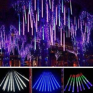 Image 1 - Luces de Navidad de 30/50CM, lluvia de meteoritos, árbol de lluvia, luz de hadas para el hogar, jardín, Patio, gota de lluvia, luz que cae en la nieve