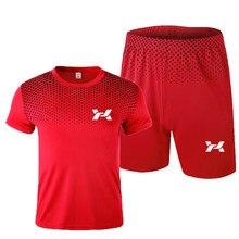 Men's sportswear short-sleeved suit sweatshirts men's sports running two-piece football gym fitness men's T-shirt + shorts suit