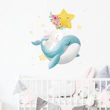 Autocollant mural de dessin animé baleine lapin, pour chambre d'enfant, papier peint de décoration de maison, décoration de chambre à coucher, stickers muraux d'animaux mignons pour pépinière