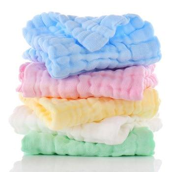 5pcs/set Baby towel 100% Cotton Square Muslin Towels 6layers Water Washing Handkerchief Newborn Nursing Towel 30*30cm - discount item  40% OFF Baby Care