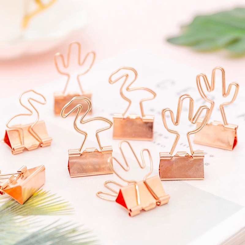 4Pcs/pack Rose Gold Flamingo Cactus Metal Clips File Paper Photo Memo Clip Organizer Ticket Holder Stationery Office School Gift
