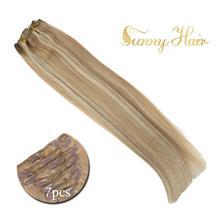 VeSunny, волосы для наращивания на заколках, человеческие волосы, 7 шт., накладные волосы на заколках, выделенный цвет, пепельный микс, блонд#18/613