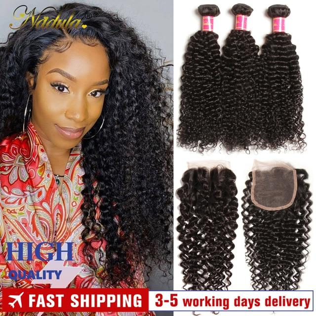$ US $64.54 Nadula Hair Brazilian Curly Bundles With Closure 4*4 Lace Closure Remy Human Hair Bundles With Closure 3 Bundles With Closure