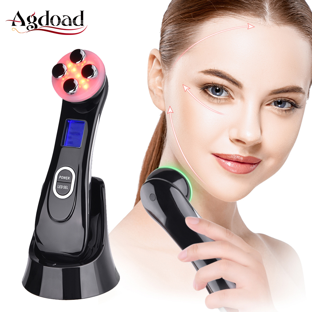 LED Photon Ultrasonic Ion Face Lifting Device Ultrasound Wrinkle Remover Anti Aging Skin Tightening Skin Care Beauty Instrument