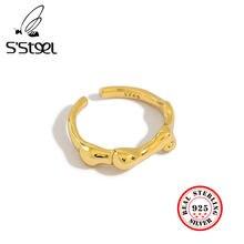 Серебряные дизайнерские корейские минималистичные золотые кольца