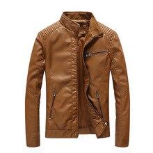 Mens Leather Jackets Pu Jacket Coats Solid Autumn Motorcycle Men Biker Fake PU MOOWNUC