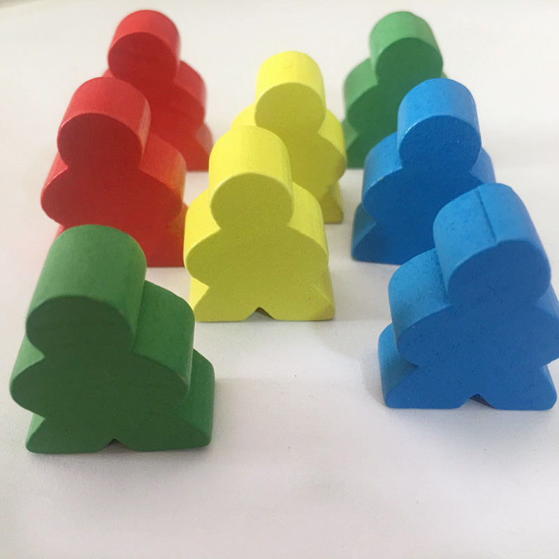 30 Pieces Wooden Chess Standard Size For Meeple Carcassonne Board Game Accessories 1.9*2.4*1CM