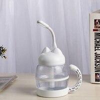 3 in 1 420ML USB Katze Luftbefeuchter Ultraschall Cool-Nebel Entzückende Mini Luftbefeuchter mit LED Licht Mini USB Fan für Home Office