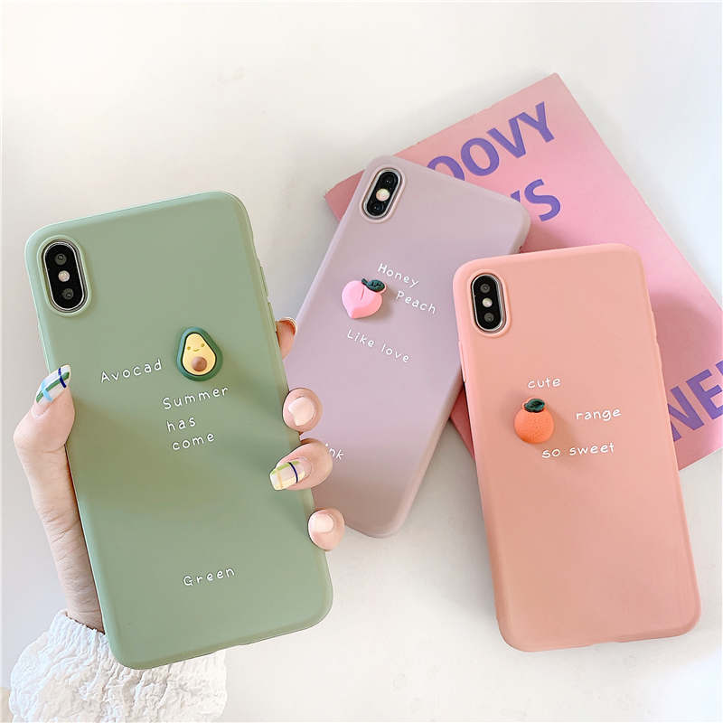 3D Candy Color Avocado Letter Soft Case For OPPO F5 F9 F7 A59 A57 A39 A73 A79 A83 A5 A7 R17 Reno F11 R11 A3S K1 Silicone Cover image
