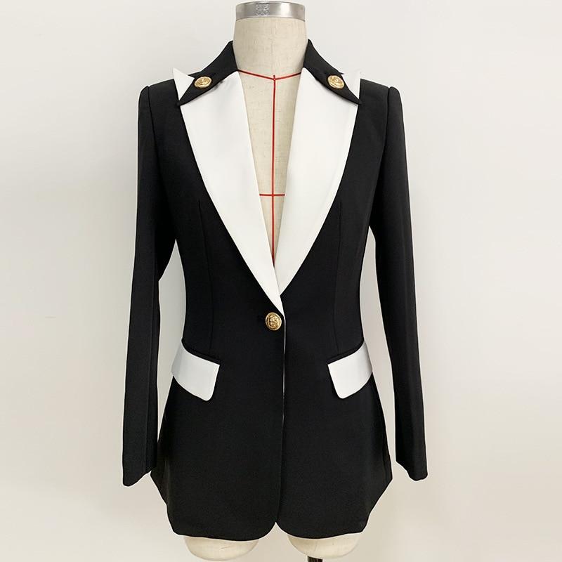 2019 Autumn Winter Women Blazer Lady's Black and White Stitching Metal Buckle Suit Blazers Femme Temperament