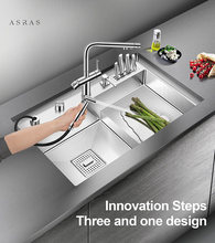 Asras 8048J+3063 SUS304 handmade kitchen sink fine brushed stepped base with drainer and kitchen tap free shipping