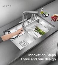 Asras 8048j + 3063 sus304 кухонная раковина ручной работы с