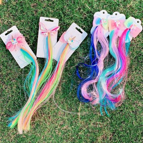 Girls Cute Colorful Wig Cartoon Unicorn Hair Clips Sweet Princess Hair Ornament Headband Hairpins Kids Fashion Hair Accessories Islamabad