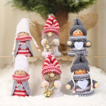 Cute Knitted Wooden Christmas Doll Pendant Tree Decorations for Home Xmas Ornaments Gift Kids