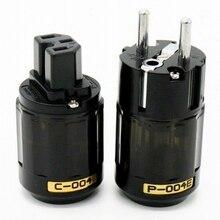 Oyaide C 004 P 004E Schuko Europa UE enchufe chapado en rodio IEC conector de Audio hombre mujer MATIHUR de audio de alta fidelidad