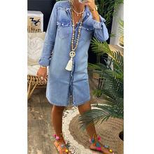 Бесплатная доставка осень 2020 рубашка женское джинсовое платье