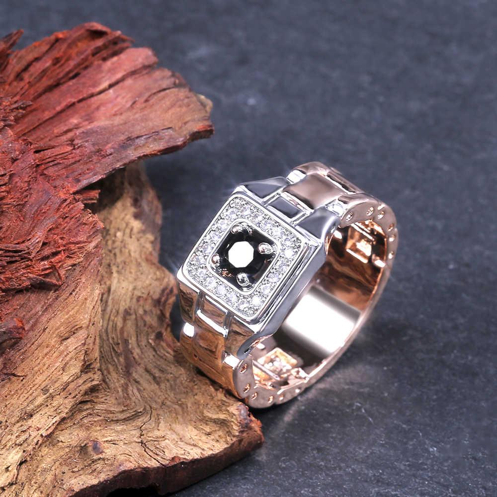 Huitan מסיבת גברים טבעות Creative שעון בצורת שני טון עיצוב טבעות לגברים חתונה טבעת עם גודל 6-14 זכר תכשיטים סיטונאי