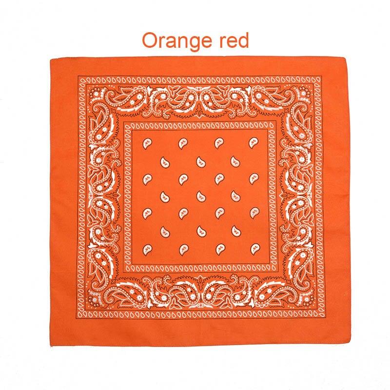 55 см* 55 см, унисекс, черная бандана, модный головной убор, повязка на голову, шейный шарф, повязки на запястье, квадратные шарфы, платок с принтом, Прямая поставка - Цвет: Orange red