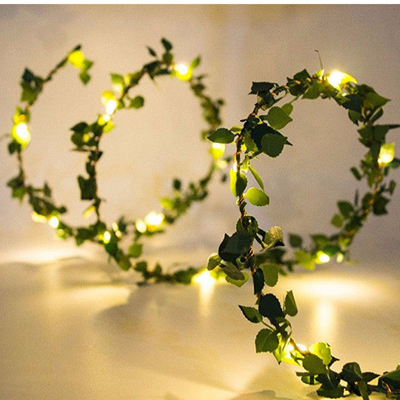 2 M 20LED Artificial Leaf Garland Plants Vine Fake Foliage Handmade For Home Decor Wedding Decoration DIY Wreath Silk Flower