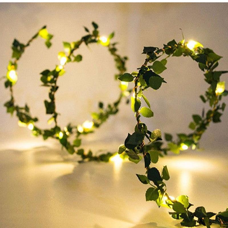 2 M 20LED Artificial Leaf Garland Plants Vine Fake Foliage Handmade For Home Decor Wedding Decoration DIY Wreath Silk Flower