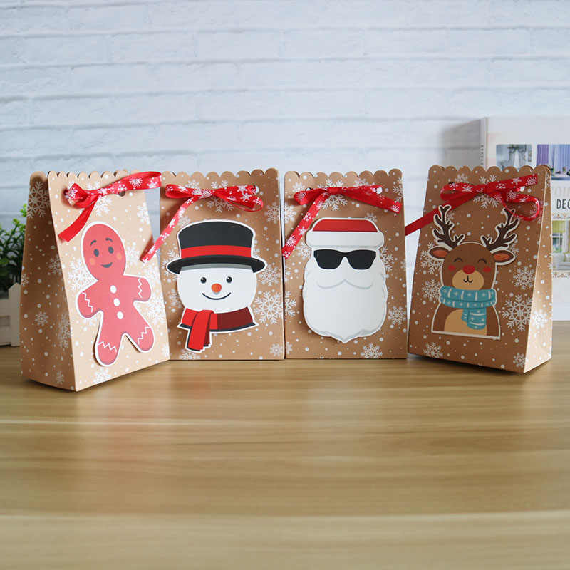 8pcs Kraft Paper Candy Boxes Gift Bag Christmas Gift Box 18.5*7*11.7cm Christmas Box for Cookie Paty Supplies Home Decoration
