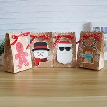 8 adet Kraft kağıt şeker kutuları hediye çantası noel hediyesi kutusu 18.5*7*11.7cm noel kutusu çerez için parti malzemeleri ev dekorasyon