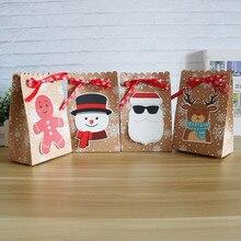 8Pcsกระดาษคราฟท์กล่องกระดาษCandyของขวัญถุงChristmasของขวัญกล่อง 18.5*7*11.7 ซม.กล่องคริสต์มาสสำหรับคุกกี้Patyอุปกรณ์ตกแต่งบ้าน