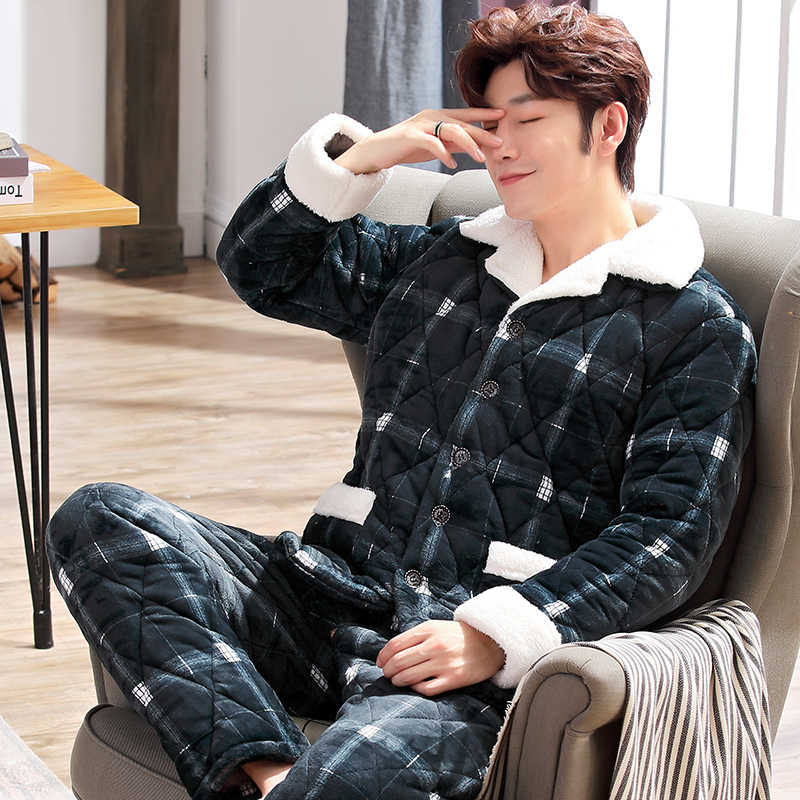 Winter Men Three Layers Quilted Pajamas Set Thick Flannel Sleepwear Plus Size XXXL Pyjamas Stitching Plaid Male Warm Loungewear