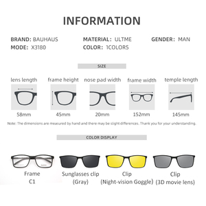 Image 2 - Magnet Flat Polarized Sunglasses Men big frame glasses  ultem Clip Sunglasses Glasses Men Clips X3180