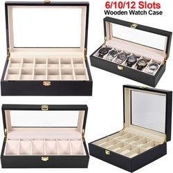 6/10/12 Slots Watch Box Black Wooden Jewelry Organzer Watch Display Case Glass Top Wrist Watches Box Luxury Watch Holder Box D40