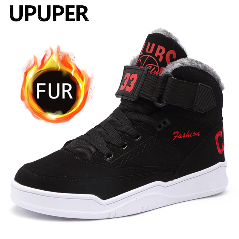 UPUPER Mens Snow Boots Winter Warm Men Shoes Fashion Comfortable High Top Outdoor Sneakers Men Boots With Fur Flat Winter Shoes