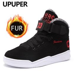 Upuper botas de neve dos homens inverno quente sapatos de moda confortável alto superior tênis ao ar livre botas de inverno com pele plana sapatos de inverno