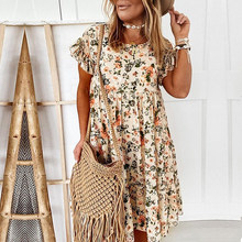 2021 Spring Summer Hot New Women Dress Fashion Print Short Sleeve A-Line Party Dress Elegant O Neck Loose Mini Dresses Vestidos