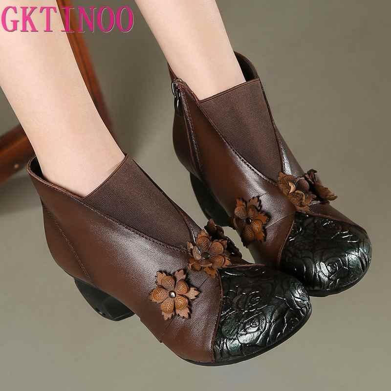 GKTINOO Bloemen Enkellaars Voor Vrouwen Herfst Winter Echt Leer vrouwen Laarzen Retro Handgemaakte Comforable Schoenen Hoge Hakken