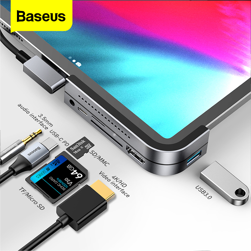 Baseus USB C HUB For iPad Pro 12.9 11 2018 Type C HUB to HDMI USB 3.0 PD Port 3.5mm Jack USB-C USB HUB Adapter For MacBook Pro(China)