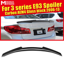 For BMW 3 Series E93 Spoiler High Kick AEM4 Style Carbon Fiber Gloss Black 320i 325i 328i 330i 335i Trunk Wing Spoiler 2006-2013 single grid gloss black front bumper grill replacement for bmw 3 series f34 gt gran turismo 320i 328i 335i 2013 2014 2015 2016