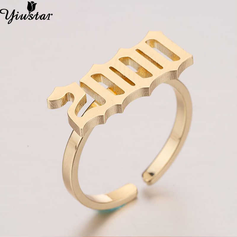 Yiustar Personalized Old English Number Rings for Women Number Ring Year 2000 Customized Rings Stainless Steel Rings Best Gifts