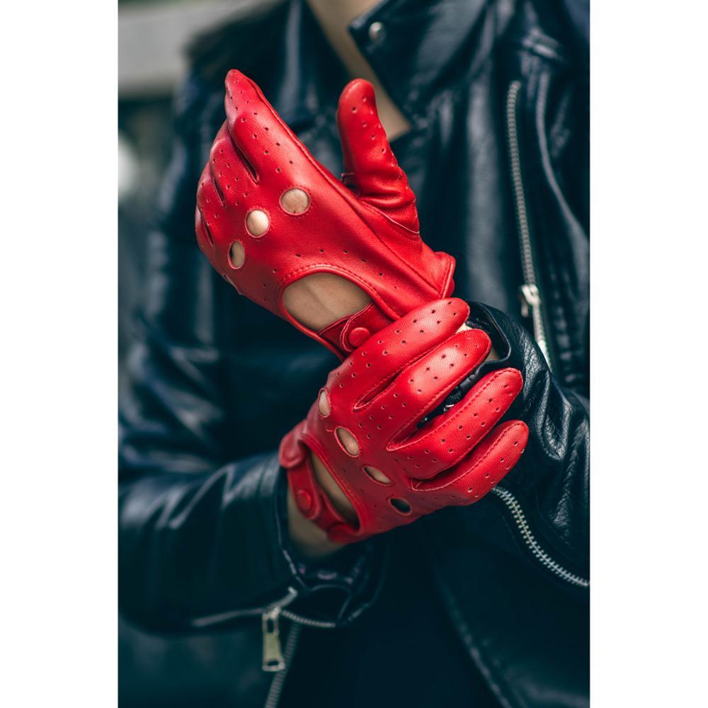 Harssidanzar Mens Deerskin Leather Gloves Cashmere Lined