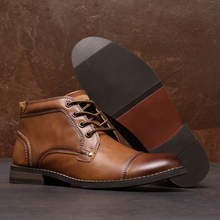 New Men Basic Boots Mens Fashion Outdoor Shoes Male Antiskid Design Leather Lace-Up Boots High Quality Comfy Casual Ankle Boots