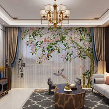 Sheer Tulle Curtains Photo Living-Room Chinese-Style Drape-Panel Door Bedroom Natural-Birds