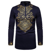 UNPADUPE Men's Robe Shirt Fashion Slim Casual Long Sleeve Pattern Shirt Ethnic Style Men's Buttoned Shirt Men's Court Wind Shirt long sleeve buttoned large grid shirt