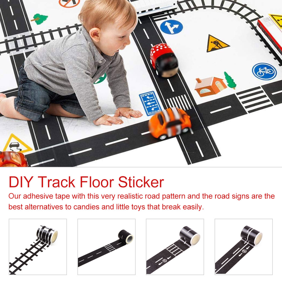 DIY Truck Car Highway Railway Road Tape Toy Adhesive Tape Sticker Label Craft Masking Tape Early Educational For Baby Children
