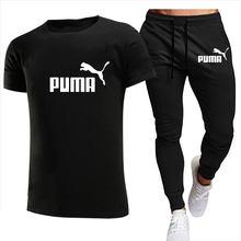 2021 yaz moda eğlence marka erkek seti eşofman spor eşofman takımları erkek eşofman kısa kollu T gömlek 2 parça Set