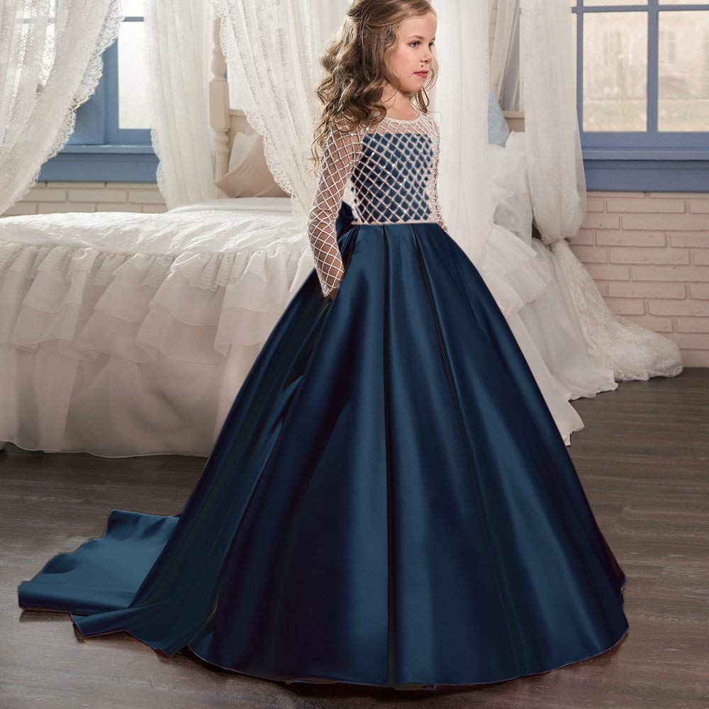 New-Flower-Girl-Dresses-Half-Sleeves-O-neck-Beading-Ball-Gown-Solid-Formal-First-Communion-Gowns (3)