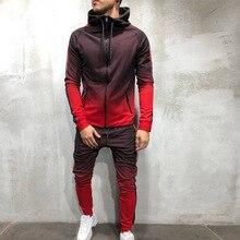 Nueva ropa deportiva de dos piezas para hombre, conjunto de sudadera con cremallera serie 3d, color gradiente digital para hombr