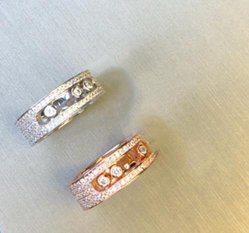 925 argent sterling cristal toboggan pierre argent anneaux mode trois rond pierre mobile serrure anneaux romantique amoureux de mariage anneaux