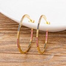 Pendientes bohemios de gran círculo colorido para mujer, aretes, joyería CZ de cobre, para fiesta, regalo de Año Nuevo, 2021