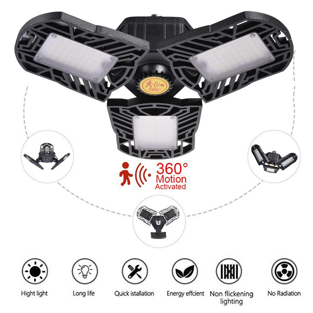 80W/8000LM Motion Activated Light LED Adjustable Three Light Garage Lamp High Bay Light UFO Workshop Parking 85-265v E27/E26