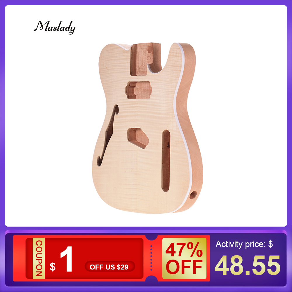 Unfinished Guitar Barrel Blank Mahogany Wood Diy-Parts Tele-Style Muslady Body for TL-FT03 title=