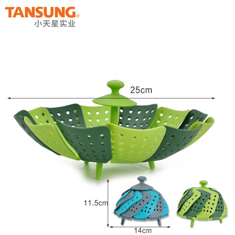 Household Food Level Lazy Steaming Rack Foldable Plastic Lotus Steamer & Vegetable Large Steamed Basket Multi-Color-